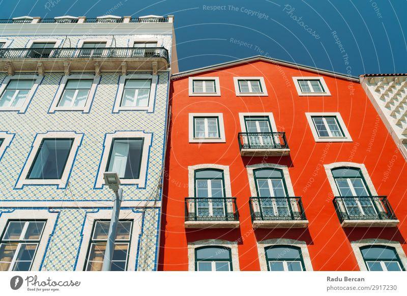 Bunte Mehrfamilienhausfassade in Lissabon, Portugal heimwärts Haus Stadt Stadtzentrum Stil klassisch Ferien & Urlaub & Reisen Großstadt Konsistenz Architektur
