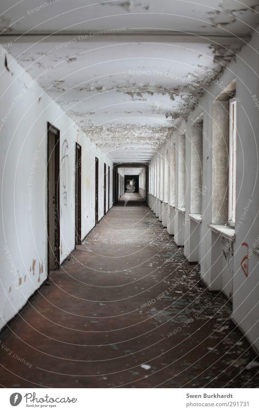 Ich hab dir schon 3 mal gesagt du sollst den Flur fegen. alt Haus Fenster Wand Gefühle Mauer Architektur Gebäude grau braun Angst Raum dreckig Tür