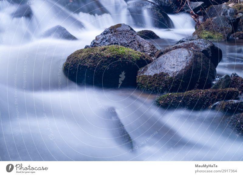 Unscharfe Bewegung des Wassers schön Leben Umwelt Natur Landschaft Baum Blatt Park Wald Felsen Bach Fluss Wasserfall Stein frisch lang nass natürlich blau grün