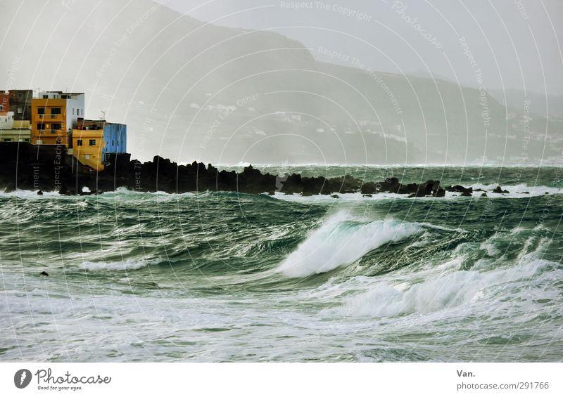 Wellengang Himmel Natur blau Ferien & Urlaub & Reisen grün Wasser Meer Landschaft Haus Küste Felsen Wetter Wellen wild Nebel Hügel