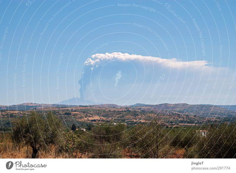 Starker Raucher! Umwelt Natur Landschaft Pflanze Urelemente Erde Feuer Himmel Sommer Feld Berge u. Gebirge Vulkan Ätna Steppe Rauchen Ferne blau braun grau grün