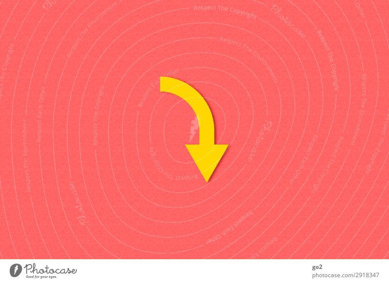 Pfeil nach unten Papier Zeichen Schilder & Markierungen Hinweisschild Warnschild ästhetisch gelb Zukunftsangst Krise Misserfolg Verfall Wandel & Veränderung