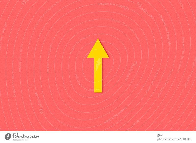 Pfeil nach oben Zeichen Schilder & Markierungen Hinweisschild Warnschild ästhetisch einfach positiv gelb Beginn Optimismus Wege & Pfade Ziel Richtung