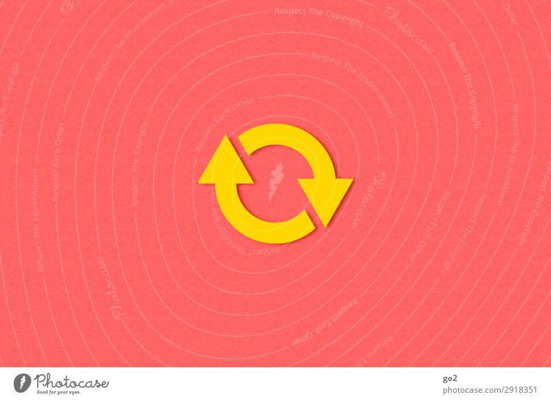 Kreislauf Zeichen Pfeil ästhetisch einfach rund gelb rot Beginn Zufriedenheit Bewegung Mittelpunkt Schwerpunkt Unendlichkeit Wandel & Veränderung Zeit kreislauf