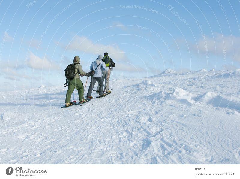 Schneeschuhwandern in der finnischen Kälte Mensch blau Ferien & Urlaub & Reisen weiß Winter Landschaft kalt Schnee Sport Menschengruppe Zusammensein Eis Wind Freizeit & Hobby wandern Ausflug