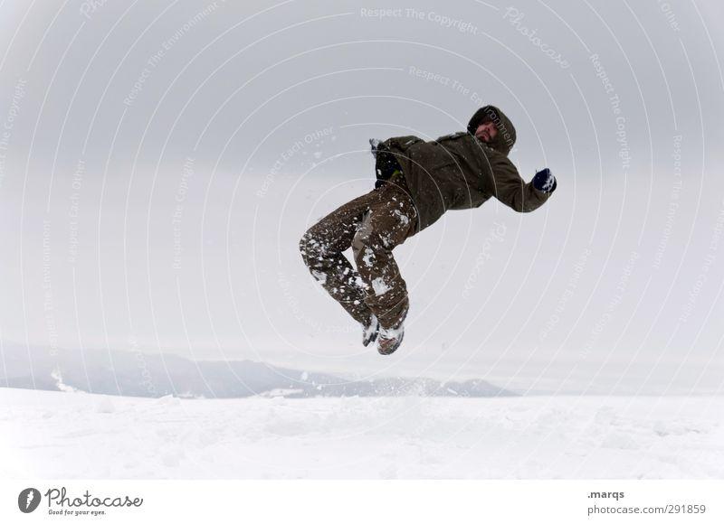 Schneefall Mensch Natur Freude Winter Erwachsene kalt springen Eis außergewöhnlich fliegen maskulin verrückt gefährlich Ausflug Abenteuer