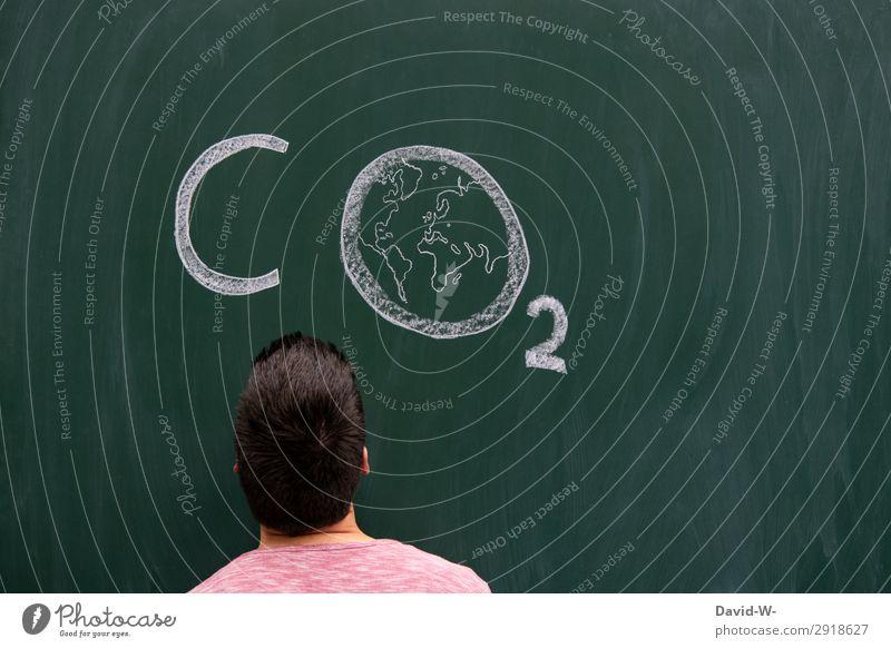 CO² Mensch Natur Jugendliche Mann Junger Mann Lifestyle Erwachsene Leben Umwelt Kunst Kopf Erde Denken maskulin Luft Klima