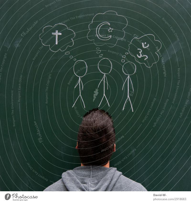 Religion Lifestyle elegant Stil Leben Kindererziehung Bildung Erwachsenenbildung Tafel Mensch maskulin Kopf 1 Kunst Künstler beobachten Denken Strichmännchen
