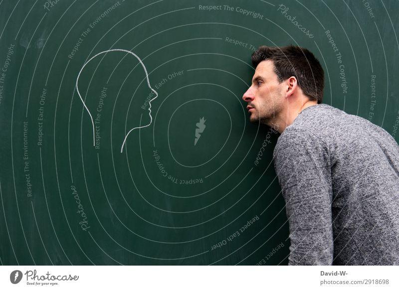 leere Mensch Jugendliche Mann Junger Mann Gesicht Erwachsene Leben Gefühle Kunst Kopf Denken maskulin Kommunizieren Kreativität lernen beobachten