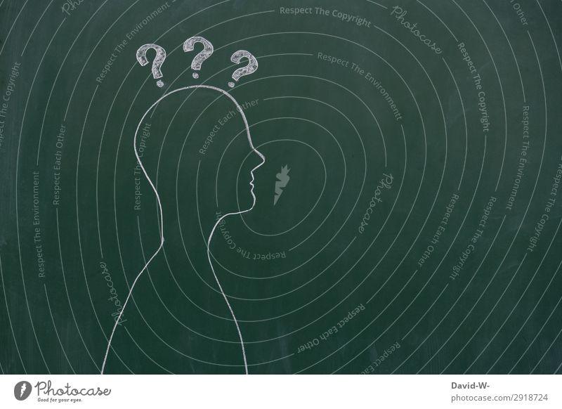 Mensch fragt sich Wieso ??? Zeichnung Tafel Kreide wieso Fragezeichen kreativ person Kreativität Hintergrund neutral Bildung Idee Kunst lernen Schule