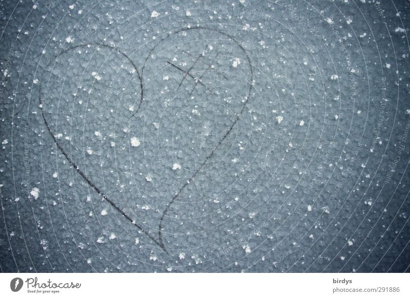 kaltes Herz schön Winter Liebe Glück Metall Eis ästhetisch Frost einfach einzigartig Zeichen Kreativität Lebensfreude Verliebtheit