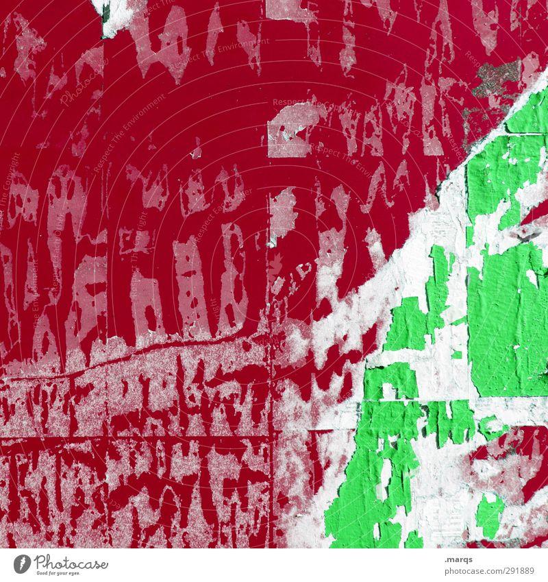 Rotgrün Lifestyle Stil Design Fassade Schilder & Markierungen alt Coolness trashig rot Farbe Metall Idee Inspiration Verfall Rest Kreativität