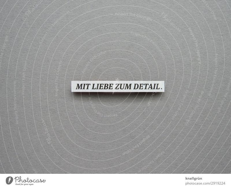 Mit Liebe zum Detail. intensiv gründlich Genauigkeit akribisch leidenschaftlich detailliert Buchstaben Wort Satz Text Typographie Schriftzeichen Sprache