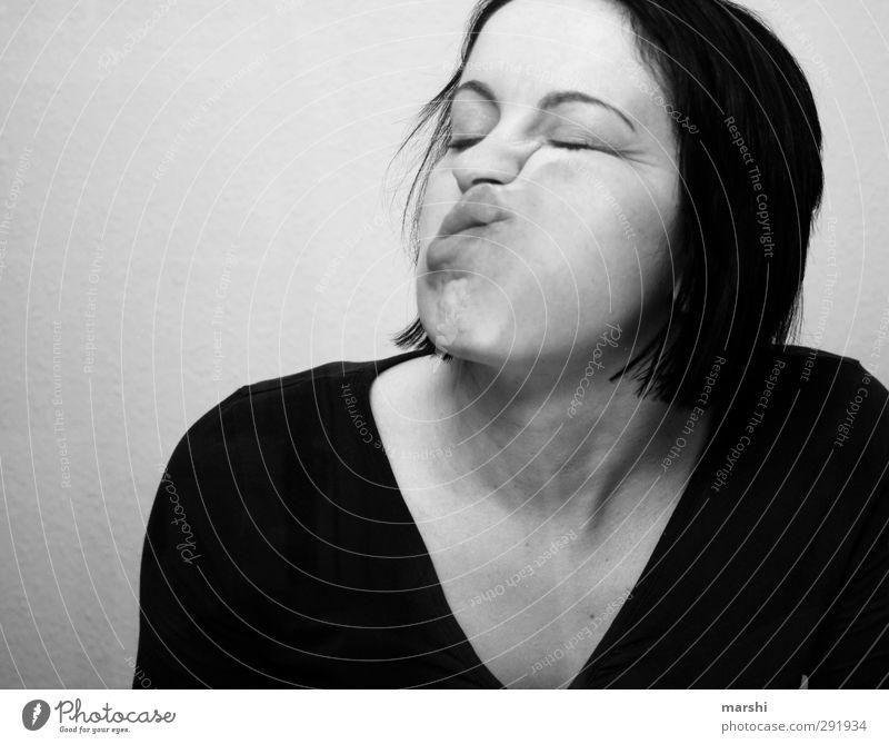 Beamtendasein Arbeitsplatz Mensch feminin Junge Frau Jugendliche Erwachsene Haut Kopf 1 schlafen Müdigkeit Wange Gesichtsausdruck Schwarzweißfoto Innenaufnahme
