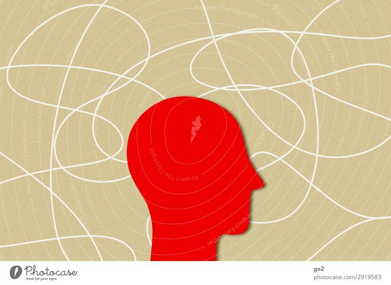 Stress Gesundheit Basteln Mensch Kopf 1 Papier Zeichen Linie Erschöpfung Zukunftsangst Nervosität gereizt Angst Einsamkeit Frustration Gefühle
