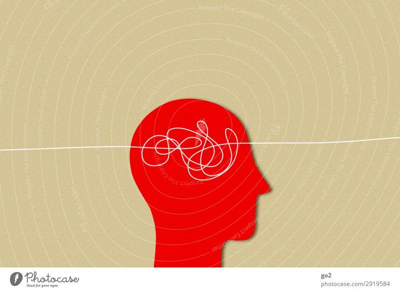 Kopf-Problem Mensch 1 Zeichen Linie Gefühle Überraschung träumen Traurigkeit Liebeskummer Schmerz Erschöpfung Angst Stress Nervosität chaotisch