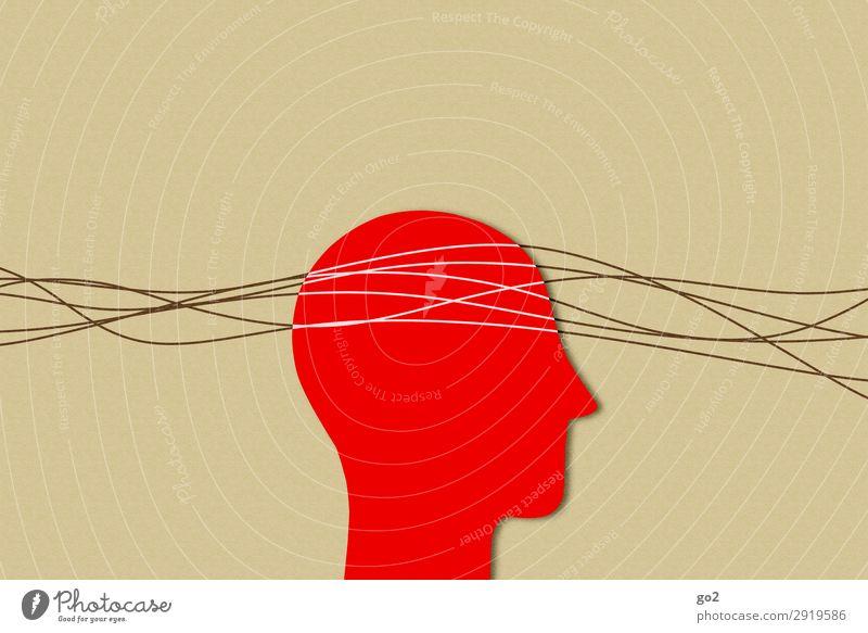 Kopfsache Basteln Mensch 1 Papier Linie ästhetisch braun rot Erschöpfung Angst Stress Nervosität Gesellschaft (Soziologie) Gesundheit Gesundheitswesen
