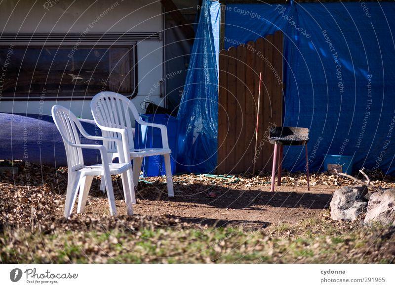 Alle Jahre wieder ... Lifestyle Wohlgefühl Erholung ruhig Ausflug Camping Stuhl Herbst Winter Wiese Partnerschaft Einsamkeit Ende Endzeitstimmung Erwartung