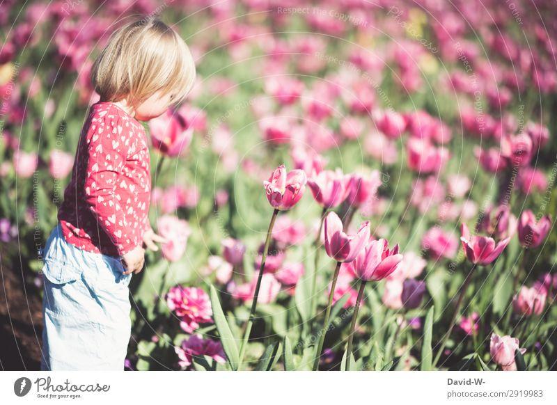 Ein Sommertag I elegant Kindererziehung Mensch feminin Kleinkind Mädchen Kindheit Leben Kopf 1 1-3 Jahre Kunst Kunstwerk Gemälde Umwelt Natur Klima Blume Park
