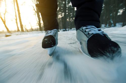 projekt seerosenteich Mensch Natur Winter Landschaft Umwelt Schnee Sport Eis Freizeit & Hobby Aktion Politische Bewegungen Frost Seeufer Stiefel Dynamik