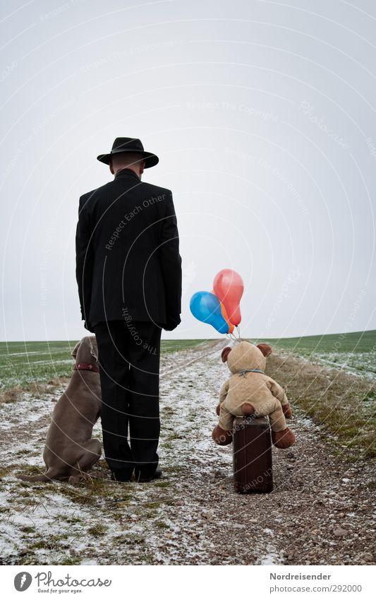 Aufbruch Hund Mensch Natur Mann Tier Winter ruhig Erwachsene Straße Leben Wege & Pfade Freiheit Freundschaft Business Feld Lifestyle