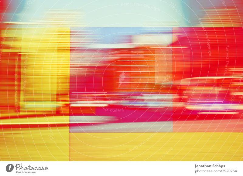 grafisches Hintergrundbild mit Bewegungsunschärfe Jugendliche blau Stadt rot Leben gelb Stadtleben ästhetisch Geschwindigkeit Coolness graphisch