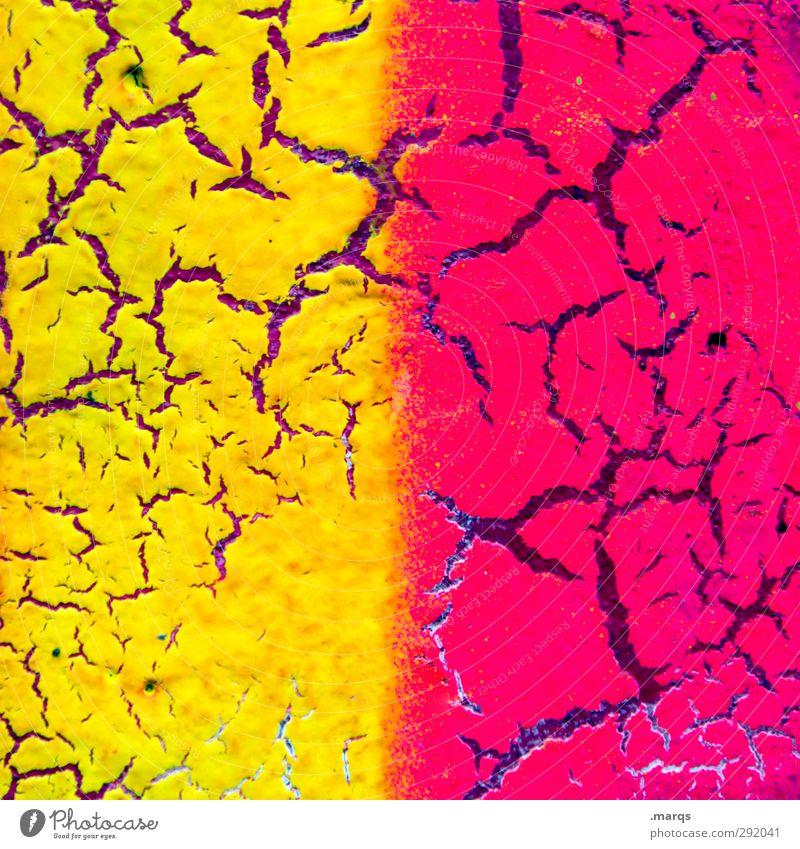 Neon alt Farbe gelb Wand Farbstoff Mauer Stil Hintergrundbild Kunst rosa Design Lifestyle verrückt kaputt Coolness Wandel & Veränderung