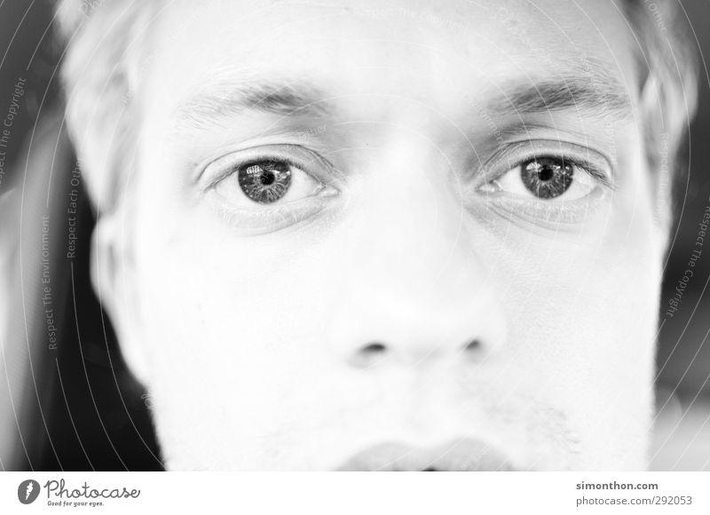 Augen Haut Gesicht Student maskulin 1 Mensch 18-30 Jahre Jugendliche Erwachsene Gefühle Vertrauen Vorsicht Gelassenheit ruhig träumen Traurigkeit Sorge Trauer