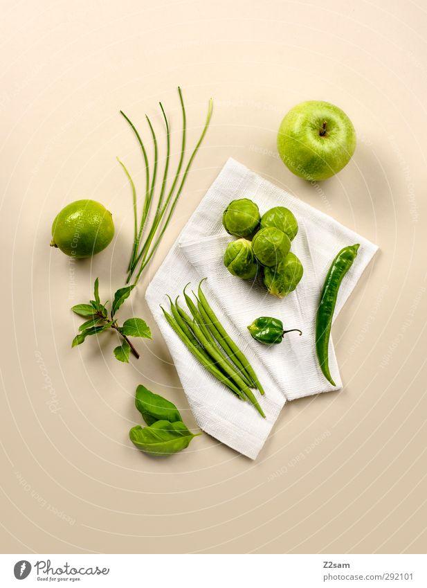 gsund! grün Gesundheit natürlich Lebensmittel Frucht elegant Ordnung modern frisch ästhetisch einfach Sauberkeit Apfel Kräuter & Gewürze Gemüse Stillleben