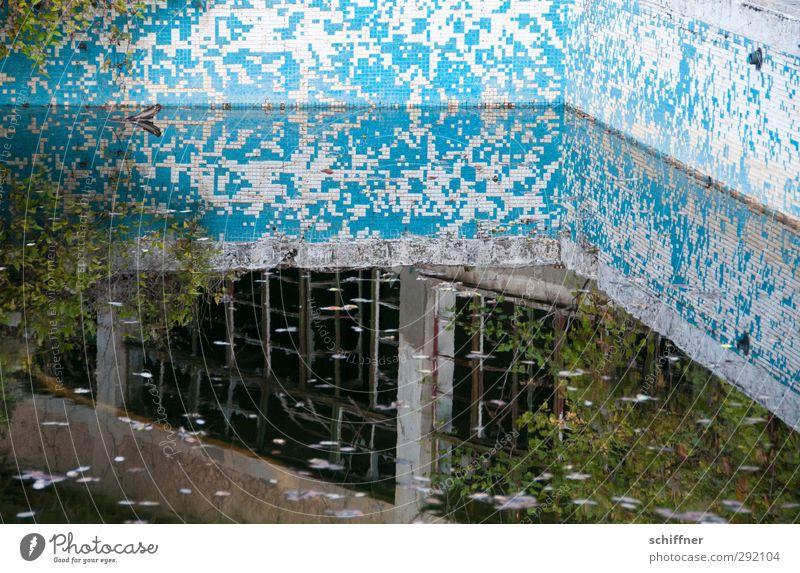 Tetris-Spiegel Ruine alt Unbewohnt Schwimmbad Wasser Wasseroberfläche Reflexion & Spiegelung verfallen Einsamkeit historisch Mosaik Fliesen u. Kacheln verfaulen
