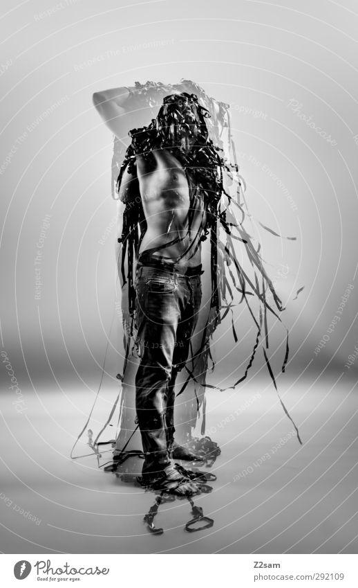 Metamorphose END Stil Medienbranche maskulin Junger Mann Jugendliche 1 Mensch 30-45 Jahre Erwachsene Skulptur Neue Medien Jeanshose stehen träumen ästhetisch