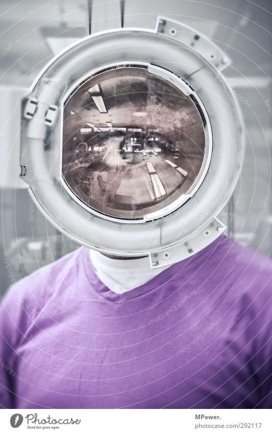 alles im blick Mann Auge Blick Lupe Jugendliche Junger Mann maskulin violett rosa Arbeit & Erwerbstätigkeit vergrößert rund beobachten Voyeurismus Oberkörper