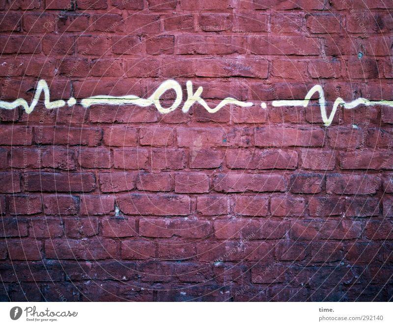 Ok weiß rot Wand Graffiti Farbstoff Wege & Pfade Mauer Kunst Stein Linie Design Zufriedenheit Zeichen Gemälde Partnerschaft Backstein