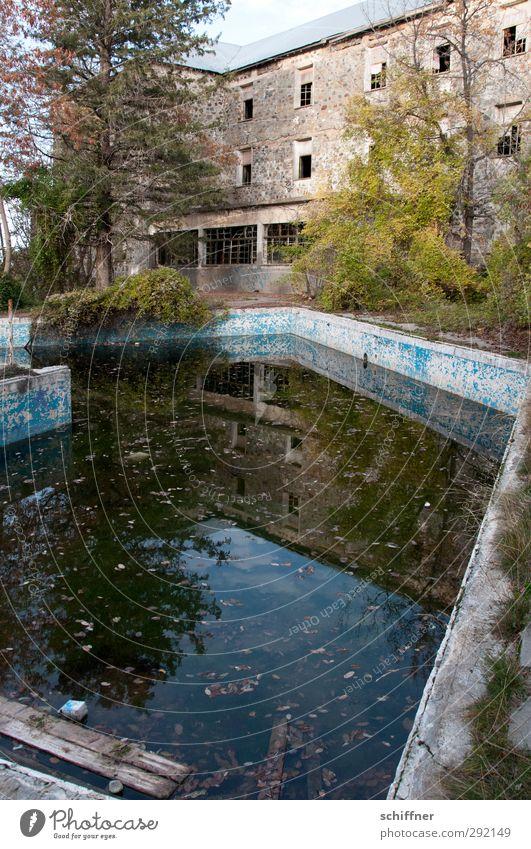 Mein Haus, mein Pool... Menschenleer Traumhaus Ruine Bauwerk Gebäude Mauer Wand Fassade Garten Fenster Denkmal alt schäbig verwildert verfallen Sträucher Hotel