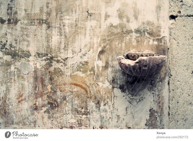 Weihwasserwandmuschel alt Wand grau Stein Kirche kaputt historisch Ruine Fresken