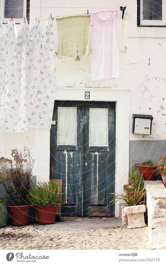Those Doors. Dorf Fischerdorf Kleinstadt Stadt Stadtzentrum Altstadt Haus Einfamilienhaus Traumhaus Mauer Wand ästhetisch Tür 2 mediterran Portugal blau Blume
