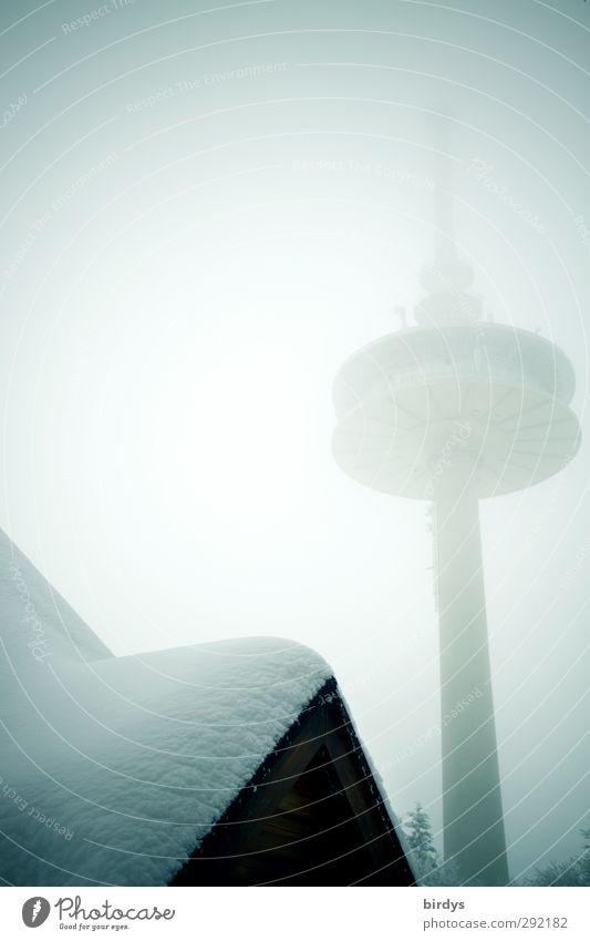 Hoherodskopfturm Stadt Winter Schnee Eis außergewöhnlich Nebel hoch Perspektive Zukunft Telekommunikation Dach Frost Turm Bauwerk Hütte skurril