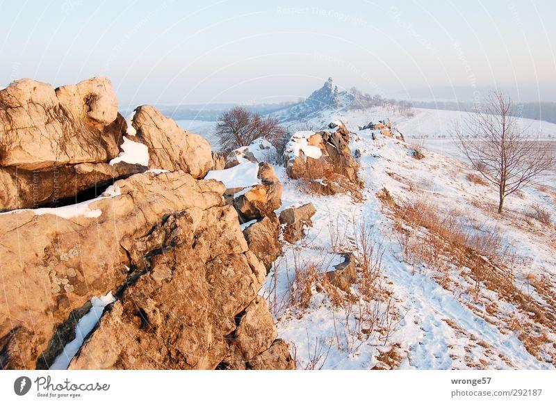 Winterlandschaft Himmel Natur Landschaft Berge u. Gebirge Schnee Felsen Eis wandern Tourismus Schönes Wetter Idylle Ausflug Frost Hügel Abenddämmerung