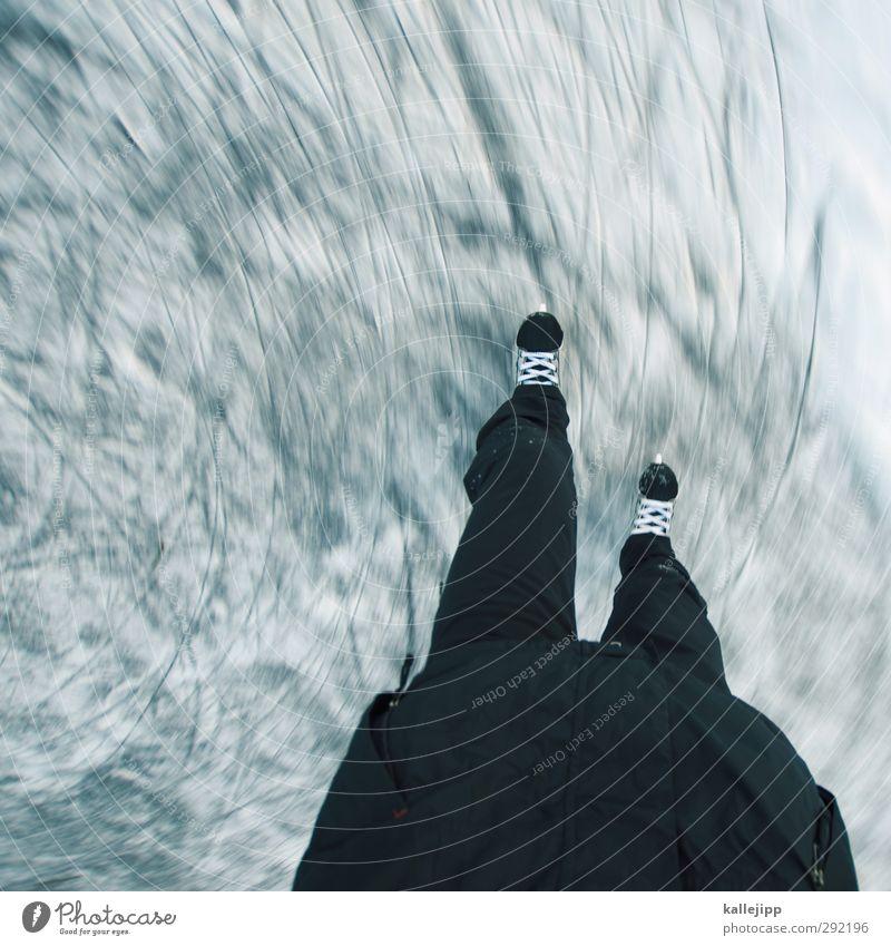 kreise ziehen Mensch Winter Sport Bewegung Beine Fuß Körper Eisenbahn Spuren rennen Kurve Wintersport Winterurlaub Schlittschuhlaufen gleiten Kratzer