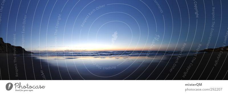 Widescreen Sunset. Himmel Natur Ferien & Urlaub & Reisen blau schön Meer ruhig Ferne dunkel Kunst Horizont Erde Idylle Wellen groß ästhetisch