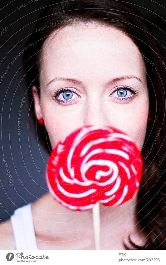 Lollipop Lebensmittel Süßwaren Ernährung Mensch feminin Junge Frau Jugendliche Erwachsene Kindheit Kopf Haare & Frisuren Gesicht Auge 1 18-30 Jahre Völlerei