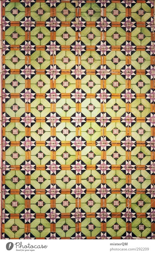 quer gekachelt. Kunst ästhetisch Fliesen u. Kacheln Muster Symmetrie Portugal Lissabon viele grün Farbfoto Gedeckte Farben Außenaufnahme Nahaufnahme