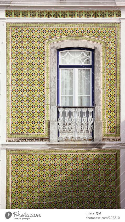 hoch gekachelt. Kunst ästhetisch Fassade Mauer Fliesen u. Kacheln Muster Symmetrie viele Autofenster altmodisch Portugal Lissabon grün außergewöhnlich Stil