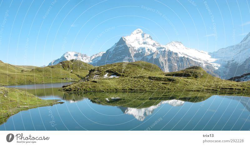 Schweizerische Idylle Himmel Natur blau grün Wasser Sommer Landschaft Berge u. Gebirge Herbst Ausflug Alpen Schneebedeckte Gipfel Perspektive Grindelwald