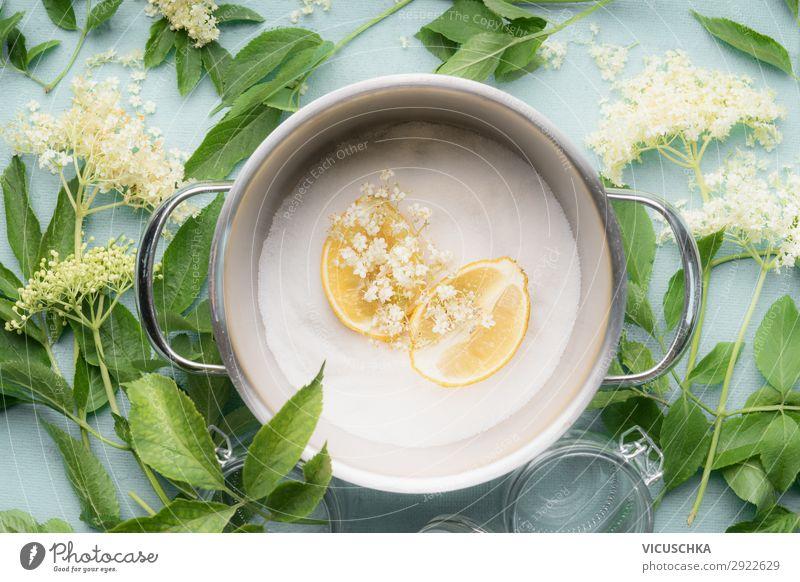 Holunderblütensirup oder Marmelade Zutaten Lebensmittel Kräuter & Gewürze Ernährung Bioprodukte Vegetarische Ernährung Limonade Geschirr Topf Stil Design