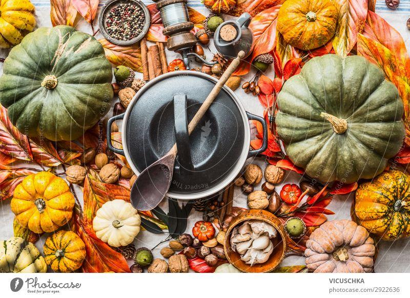 Schmackhafte Herbst Zutaten Lebensmittel Gemüse Ernährung Festessen Bioprodukte Vegetarische Ernährung Diät Slowfood Geschirr Topf Löffel Stil Design