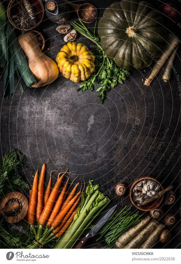 Herbst Gemüse und verschiedene Kürbisse Lebensmittel Ernährung Bioprodukte Vegetarische Ernährung Diät kaufen Design Erntedankfest Halloween Hintergrundbild
