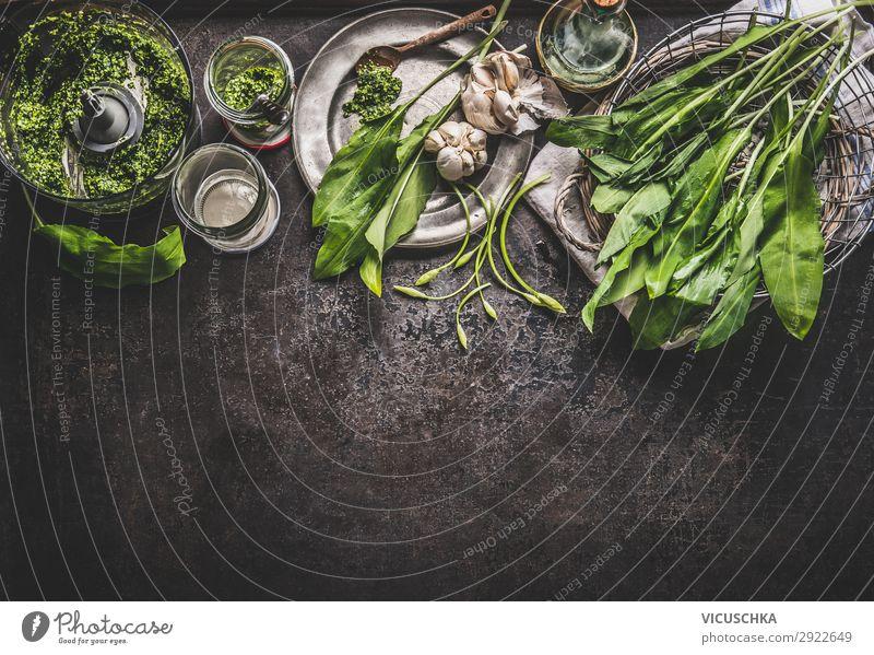 Bärlauch Pesto Zutaten Lebensmittel Kräuter & Gewürze Öl Ernährung Bioprodukte Vegetarische Ernährung Diät Geschirr Stil Design Gesunde Ernährung Tisch