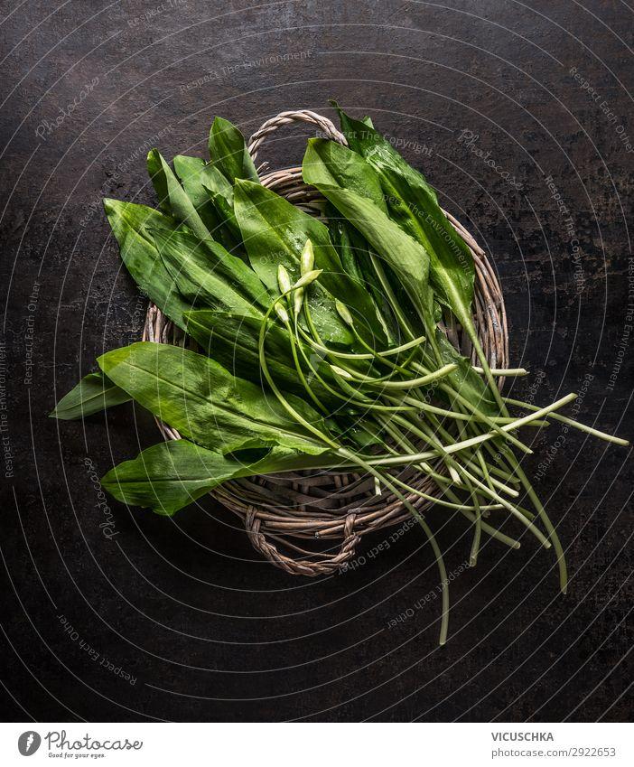 Bund frischer Bärlauch Lebensmittel Kräuter & Gewürze Ernährung Bioprodukte Vegetarische Ernährung Diät kaufen Stil Design Gesunde Ernährung Vitamin Bündel