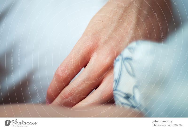 morgenstunden. maskulin Jugendliche Leben Hand Finger 1 Mensch 18-30 Jahre Erwachsene festhalten schlafen hell blau weiß Geborgenheit Gelassenheit ruhig